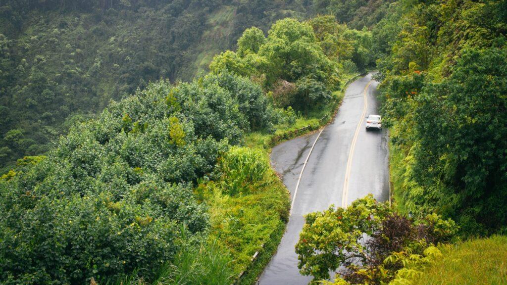drone view of Hana Highway in Hawai.