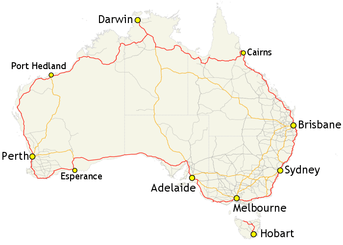 Map of the road 1 in Australia that is the longest road in Oceania