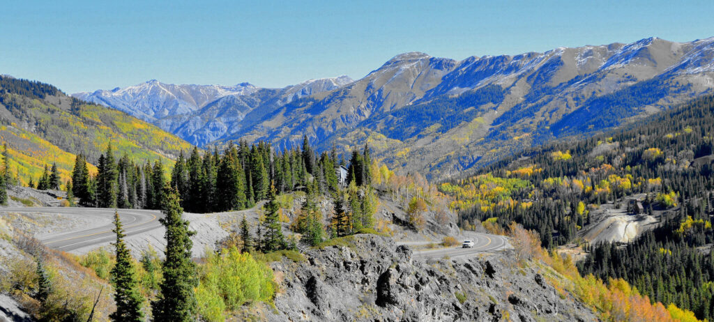 The Million Dollar Highway is a scenic road and road trip in Colorado