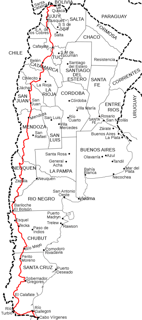 Map of the road 40 in Argentina