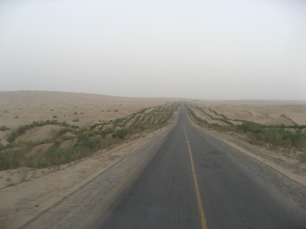 Tarim desert road on of the longest road in China