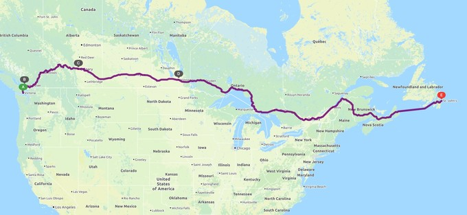 Map of the Trans-Canadian road